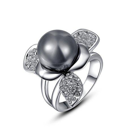 Best Chic Diamante Big Gray Faux Pearl Embellished Alloy Ring For Women