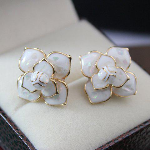 Affordable Pair of OL Style Solid Flower Earrings For Women