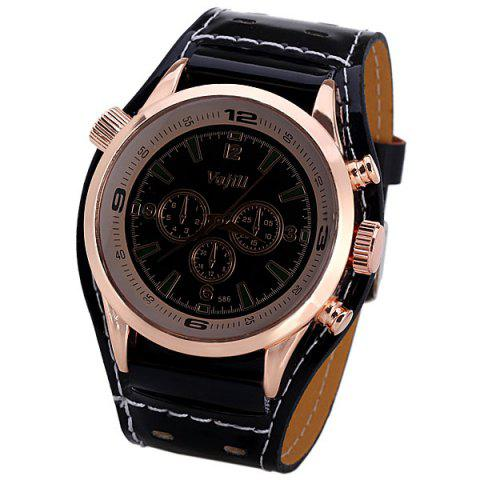 Latest Men's Watch with Numbers and Trapezoids Hour Marks Round Dial and Leather Watchband