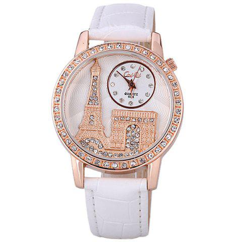 Store Quartz Watch with Diamonds Analog Indicate PU Leather Watch Band Tower Pattern for Women - WHITE  Mobile