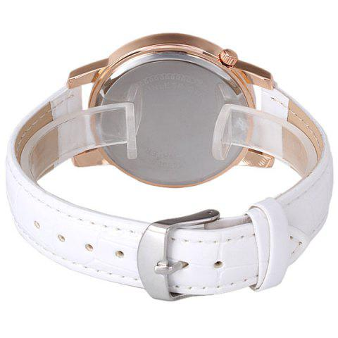 Unique Quartz Watch with Diamonds Analog Indicate PU Leather Watch Band Tower Pattern for Women - WHITE  Mobile
