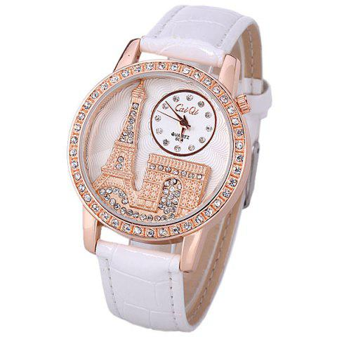 New Quartz Watch with Diamonds Analog Indicate PU Leather Watch Band Tower Pattern for Women WHITE