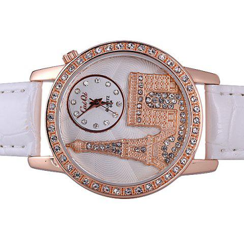 Shop Quartz Watch with Diamonds Analog Indicate PU Leather Watch Band Tower Pattern for Women - WHITE  Mobile
