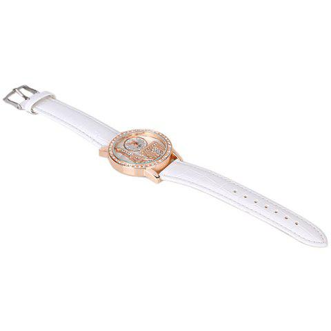 Best Quartz Watch with Diamonds Analog Indicate PU Leather Watch Band Tower Pattern for Women - WHITE  Mobile