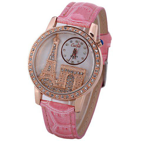 Online Quartz Watch with Diamonds Analog Indicate PU Leather Watch Band Tower Pattern for Women PINK