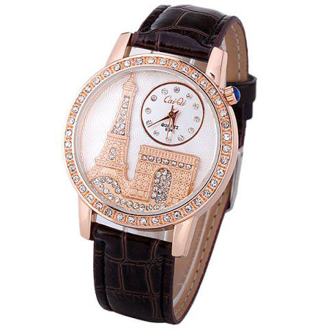 Store Quartz Watch with Diamonds Analog Indicate PU Leather Watch Band Tower Pattern for Women