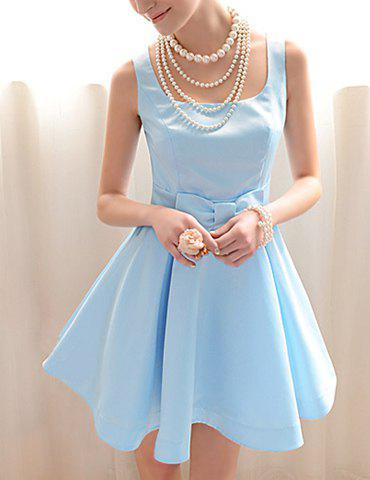 Affordable Vintage Square Neck Ruffled Bow Sleeveless Blue Women's Dress