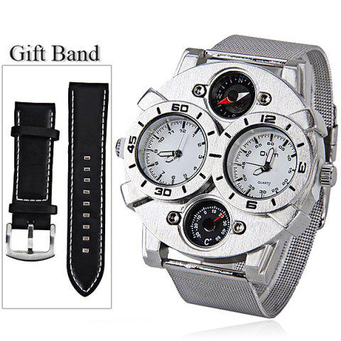 Affordable Oulm Double Japan Movt Watch with Analog Indicate and Steel Mesh Strap Watchband for Men