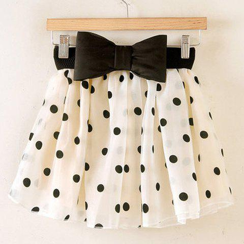 Chic Sweet Ruffled Bow Polka Dot Print Organza Women's Skirt