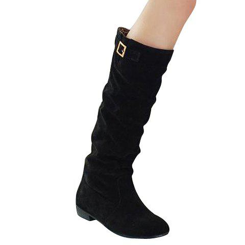 Affordable Simple Buckle and Solid Color Design Women's Boots