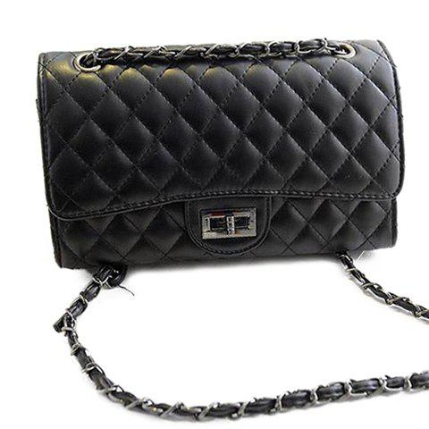 Online Gorgeous Checked and Chains Design Women's Shoulder Bag