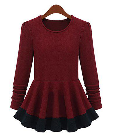 Outfit Vintage Round Collar Color Matching Flouncing Long Sleeves Womne's Mini Dress