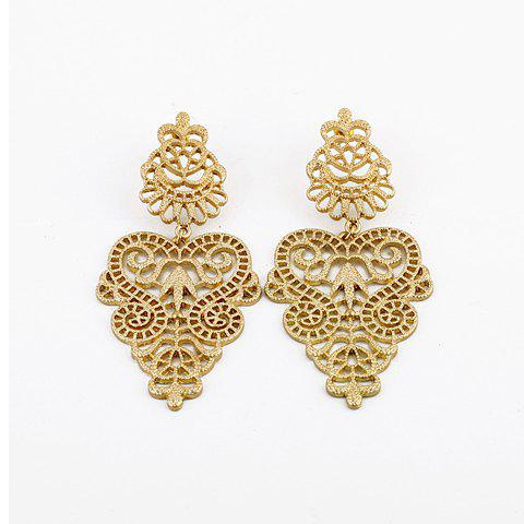 Hot Pair of Bohemian Vintage Openwork Flower Vine Carving Drop Earrings AS THE PICTURE