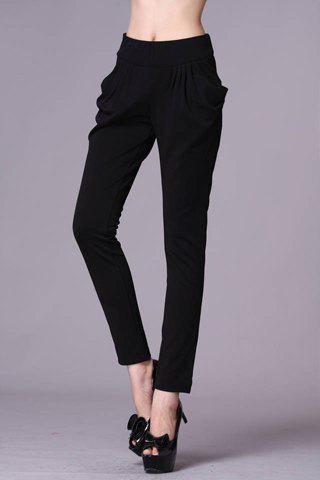 Buy Casual Ruffled Double Pockets Solid Color Women's Pants BLACK S