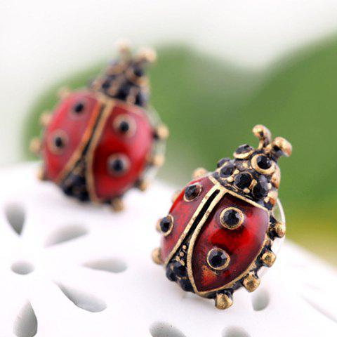 New Pair of Vintage Ladybug Shape Stud Earrings