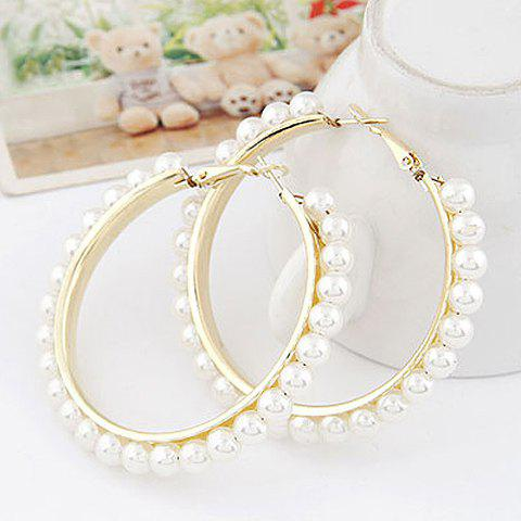 Outfits Pair of Statement Beads Decorated Round Shape Earrings