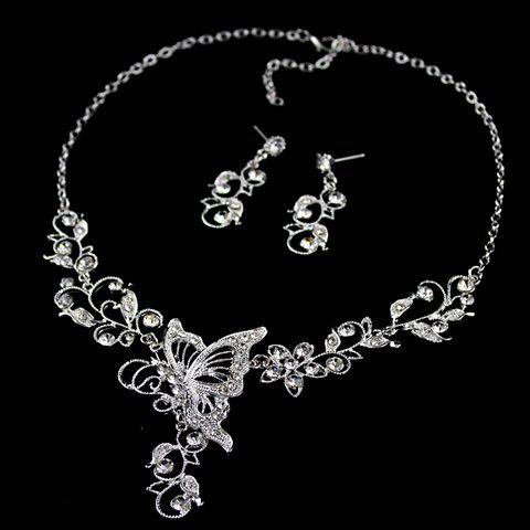 Trendy Butterfly Pendant Flower Embellished Diamante Necklace and Earrings