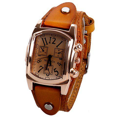 Discount Quartz Watch with Analog Real Leather Watchband for Women