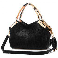 Pretty Metal and Crocodile Print Design Women's Tote Bag - BLACK