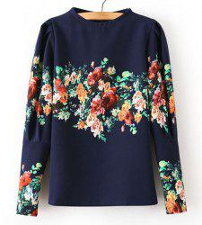 Fashionable Round Collar Floral Print Back Zipper Puff Sleeves T-shirt For Women -