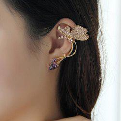 One Piece of Rhinestone Butterfly Shape Clip Earring - GOLD