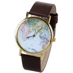 Map Pattern Quartz Watch with Analog Indicate Leather Watchband for Women -