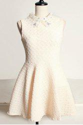 Vintage Flat Collar Lace and Rhinestone Embellished Sleeveless Dress For Women -