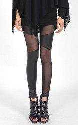 Solid Color Fashionable Style Voile Splicing Slimming Women's PU Leather Leggings -