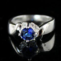 Vintage Blue Faux Crystal Embellished Alloy Ring For Women -
