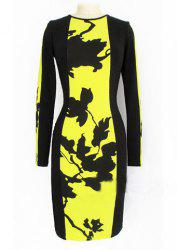 Celeb Style Floral Ladies Long Sleeve Slim Party Dress - YELLOW