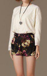 Vintage Round Collar Floral Pattern Solid Color Long Sleeves Women's Blouse -