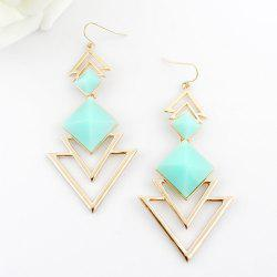 Pair of Chic Style Square Faux Gem Design Triangle Drop Earrings For Women - BLUE