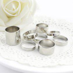 8PCS of Alloy Rings - SILVER