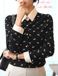 Turn-Down Collar Cartoon Animal Single-Breasted Long Sleeves Fashion Women's Blouse -