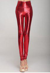 Fashionable High Waist Solid Color PU Leather Skinny Leggings For Women -