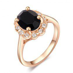 Simple Diamante Black Faux Gemstone Embellished Alloy Ring For Women -