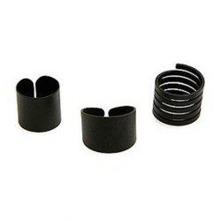 3PCS of Alloy Cuff Rings - BLACK ONE SIZE
