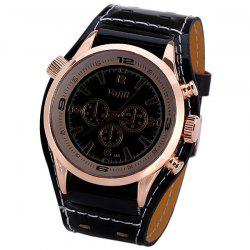 Men's Watch with Numbers and Trapezoids Hour Marks Round Dial and Leather Watchband - BLACK