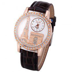Quartz Watch with Diamonds Analog Indicate PU Leather Watch Band Tower Pattern for Women -