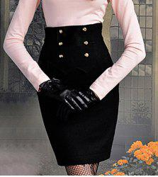 Vintage Six Buttons Wave Cut Zipper Back Black Worsted Women's Wrapped Skirt -