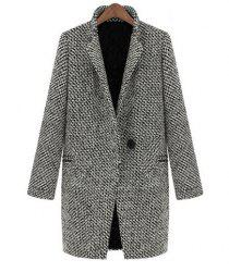 Fashion Long Edition Stand Collar Houndstooth Single Button Long Sleeves Slimming Women's Coat -