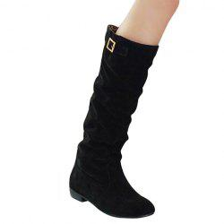 Simple Buckle and Solid Color Design Women's Boots - BLACK