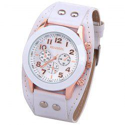 Quartz Watch with 9 Arabic Numbers and 3 Strips Hour Marks Wide Leather Watchband for Women -