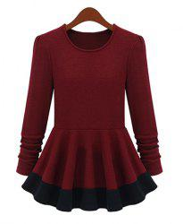 Vintage Round Collar Color Matching Flouncing Long Sleeves Womne's Mini Dress -