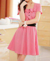Ladylike Square Neck Buttons Decoration Short Sleeves Women's Checked Dress -