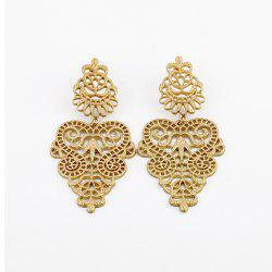 Pair of Bohemian Vintage Openwork Flower Vine Carving Drop Earrings -
