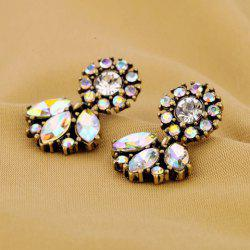 Pair of Vintage Color Intrigue Rhinestone Embellished Earrings For Women -
