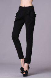 Casual Ruffled Double Pockets Solid Color Women's Pants - BLACK