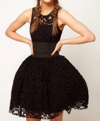 Women's Sexy Black Lace Bubble Mini Sundress -