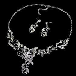 Butterfly Pendant Flower Embellished Diamante Necklace and Earrings -